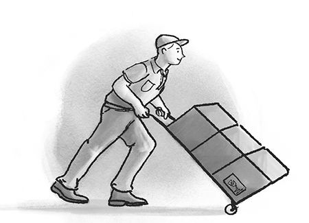 Mover with Hand Cart Illustration