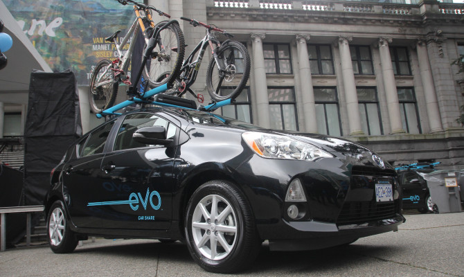 Evo Car Share with Bike Racks in Vancouver