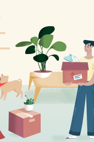 Couple Moving into Apartment Illustration