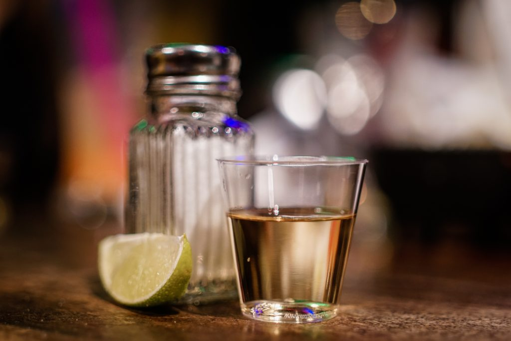 Tequila Shot on Bar