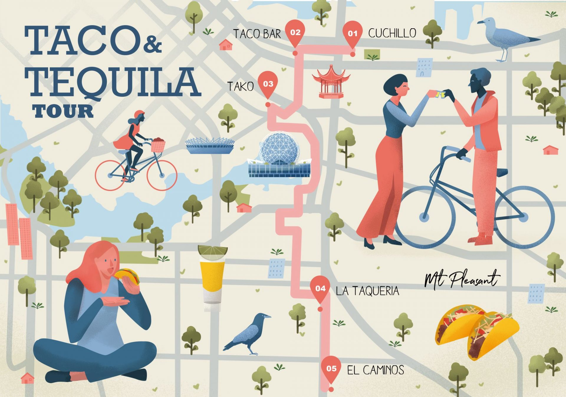 Vancouver Taco and Tequila Tour Map