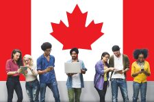 Students Standing With Canadian Flag