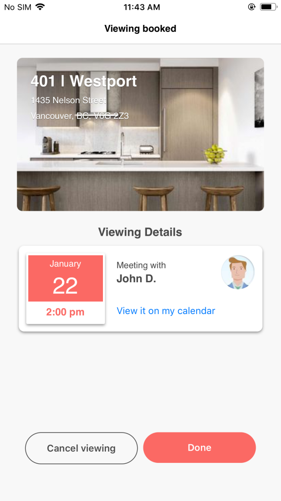 liv rent platform - apartment viewing - book an appointment directly in the liv rent app