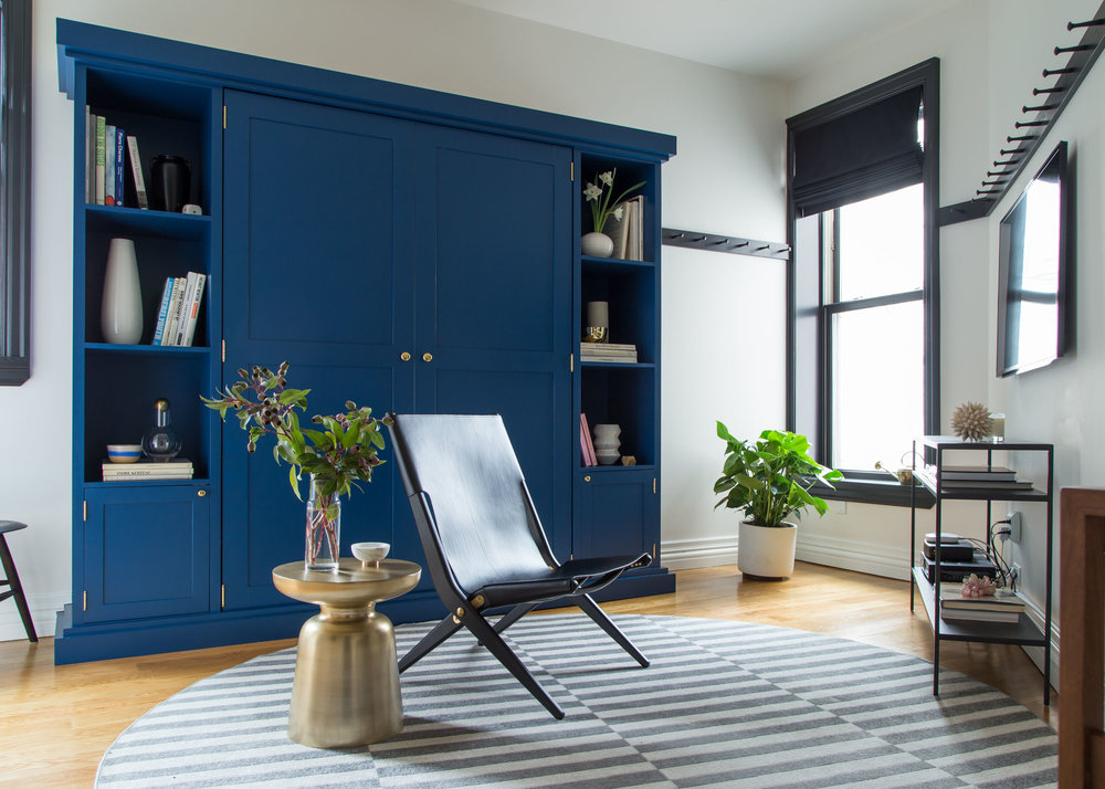 Living Room with Blue Furniture