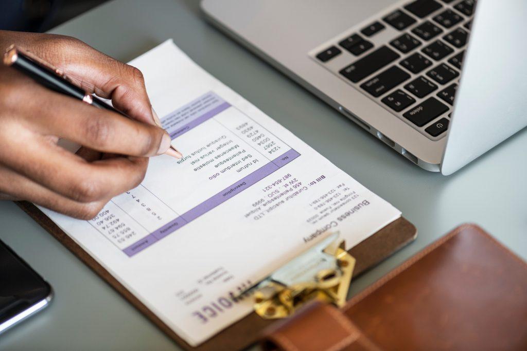Taxes Calculation on Desk
