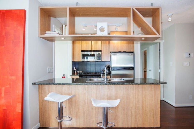 Apartment for Rent in The Gallery 1010 Richards Street Vancouver Kitchen Bar