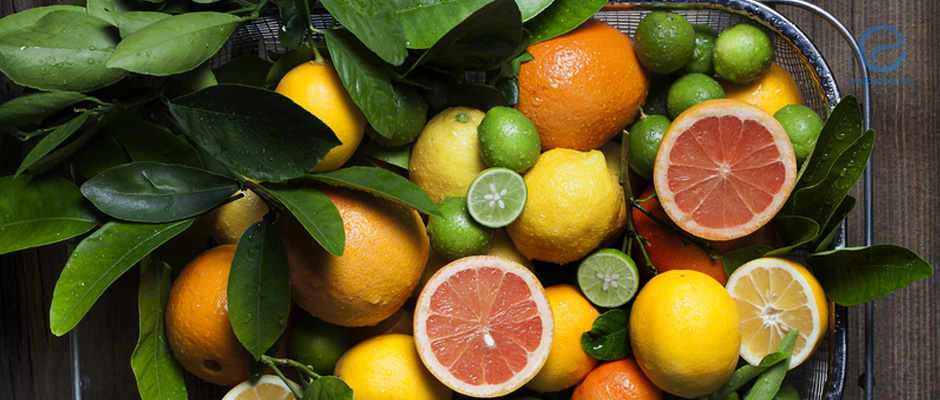 Citrus fruit in basket