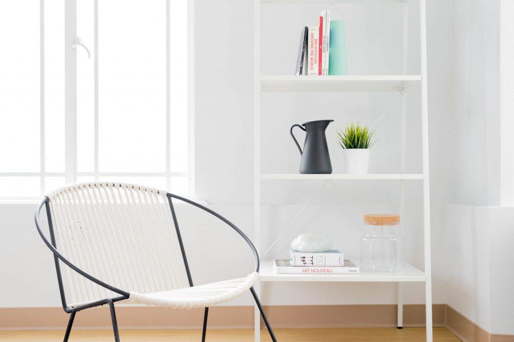 Minimalist chair and bookshelf