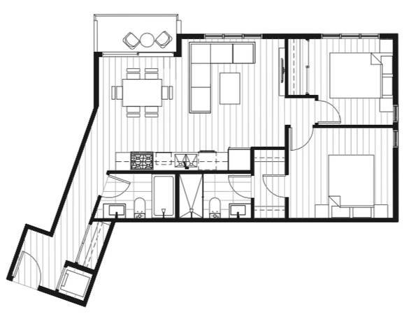 Floorplan of 2 bedroom suite in the Pixel building, Burnaby, BC