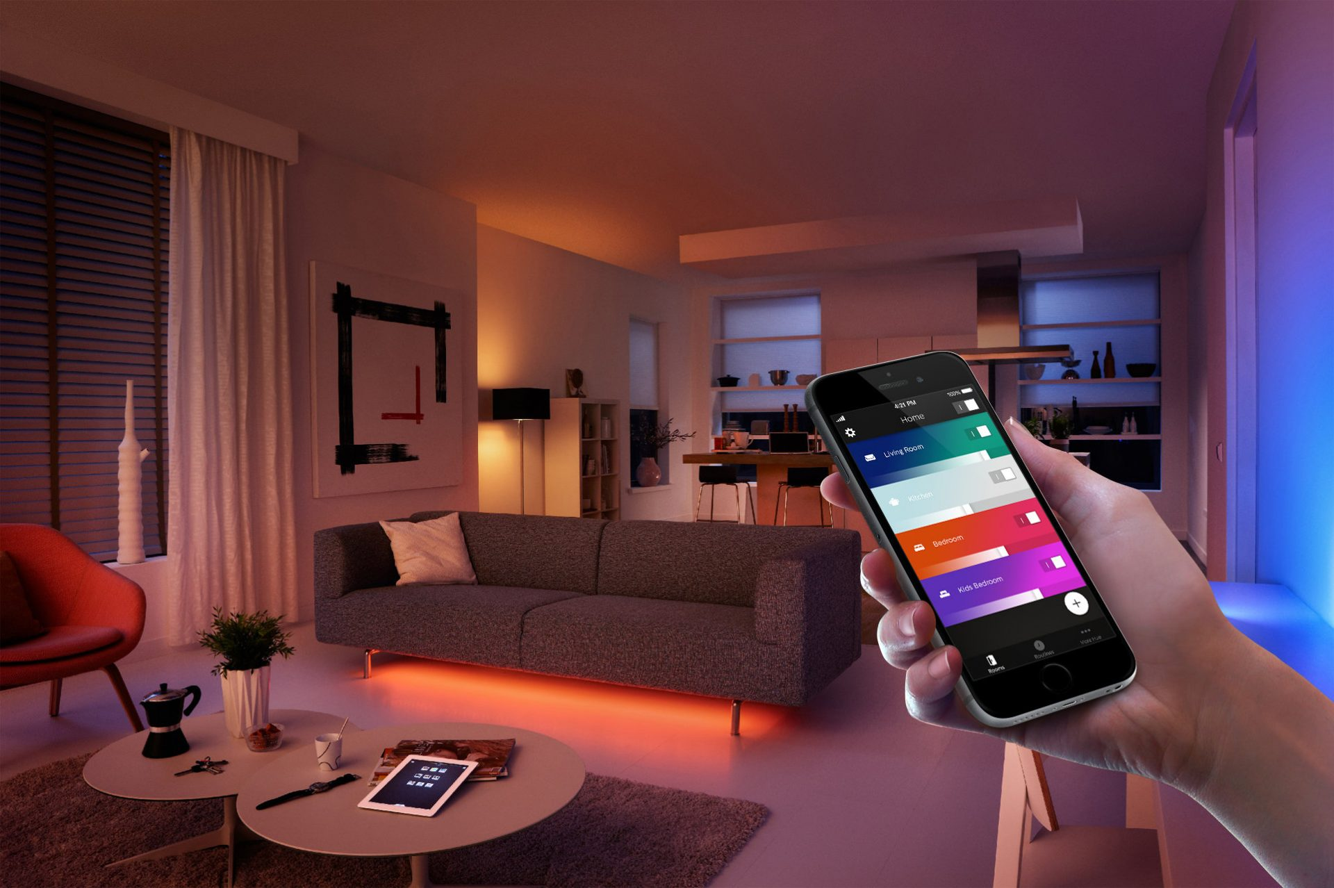 Using Phillips Hue Light system - compatible with Alexa and Google Home