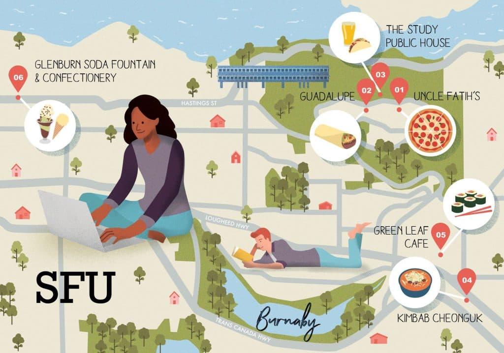 sfu, eats, food, map, glenburn, kimbab cheonguk, green leaf cafe, uncle fatih's
