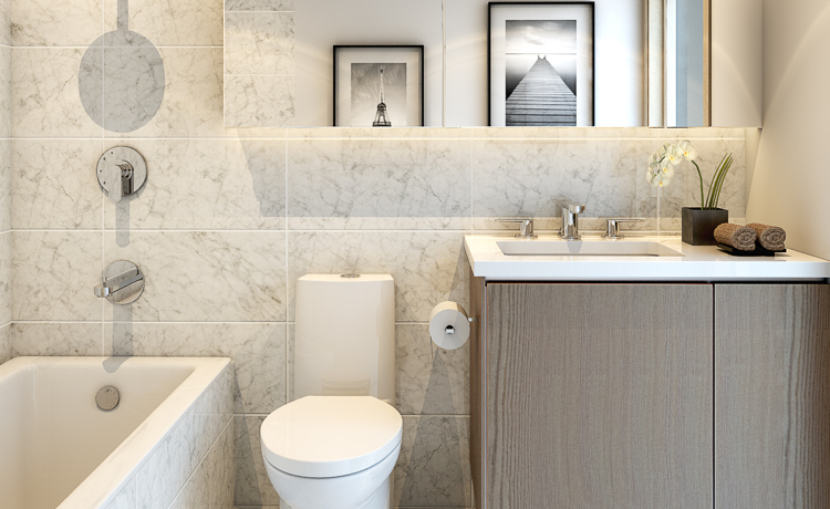 The bathrooms inside these Vancouver apartments for rent are so beautiful it will feel like you're at a hotel.