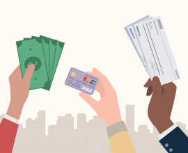 Paying for rent illustration - holding up cash, union pay card, cheque