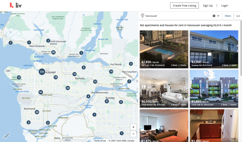apartments for rent, vancouver, map view, search