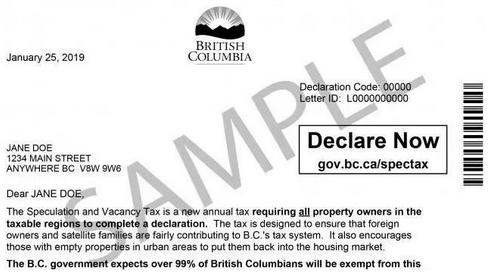 空置税申报号和申报信ID(从卑诗省政府发来的信件中找到)