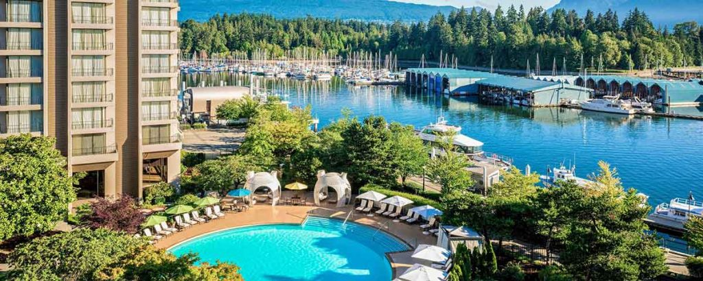 outdoor pool at westin bayshore vancouver hotel
