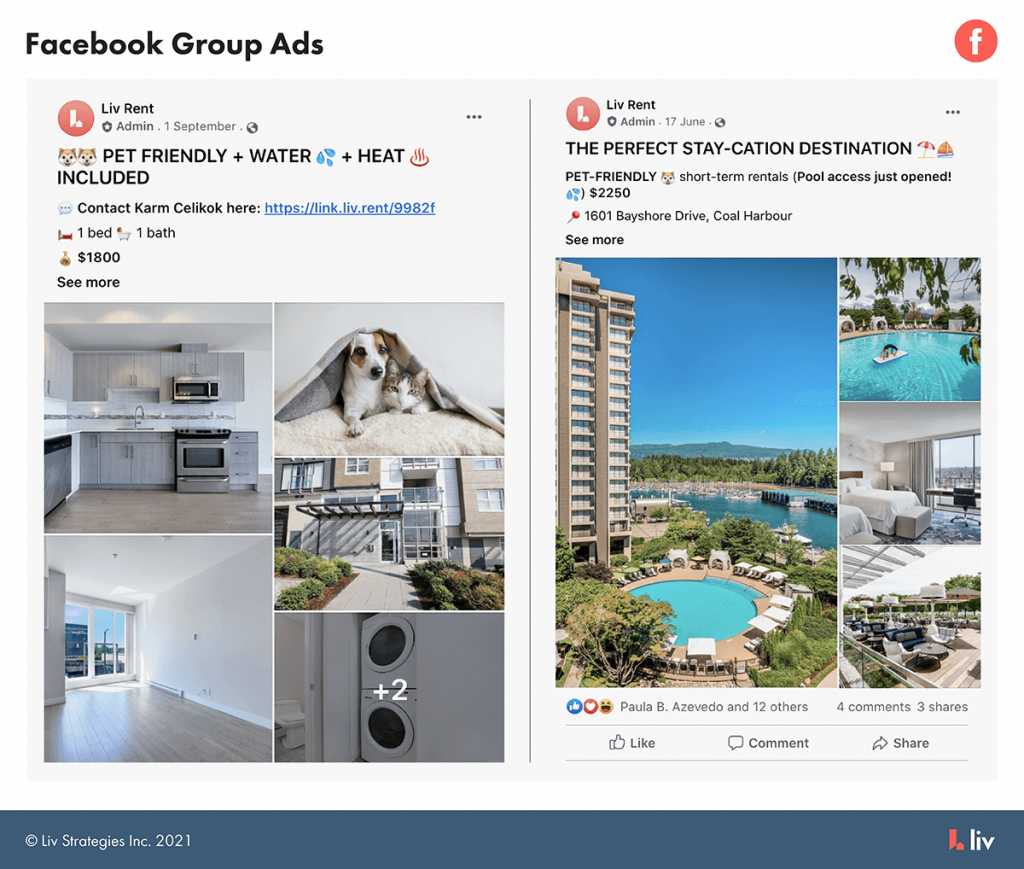 facebook group ads option - liv.rent's featured listings ads