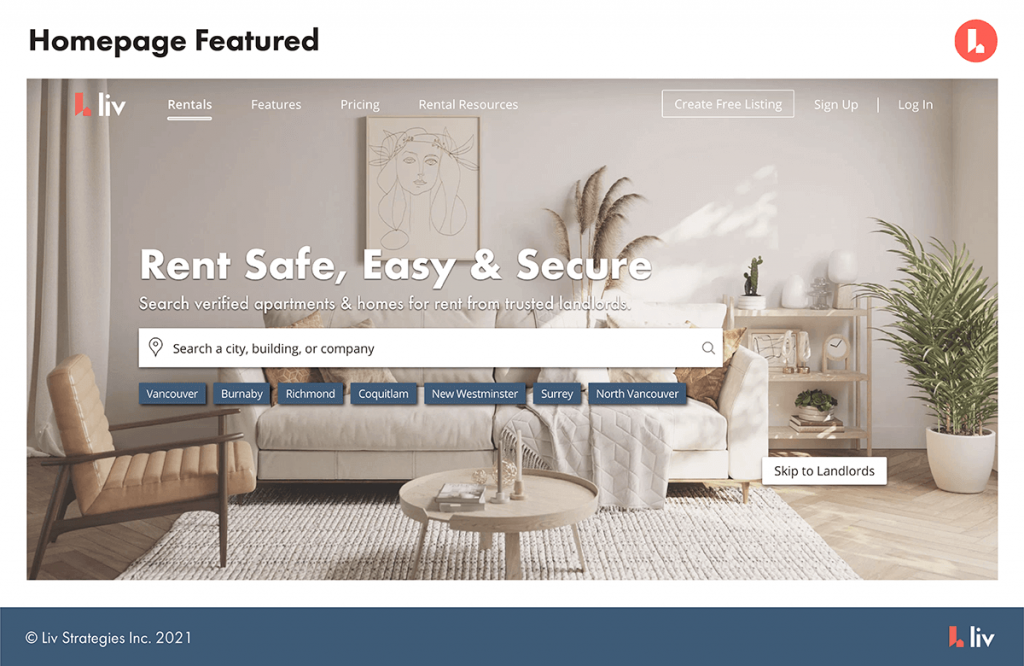 homepage featured option - liv.rent's featured listings ads