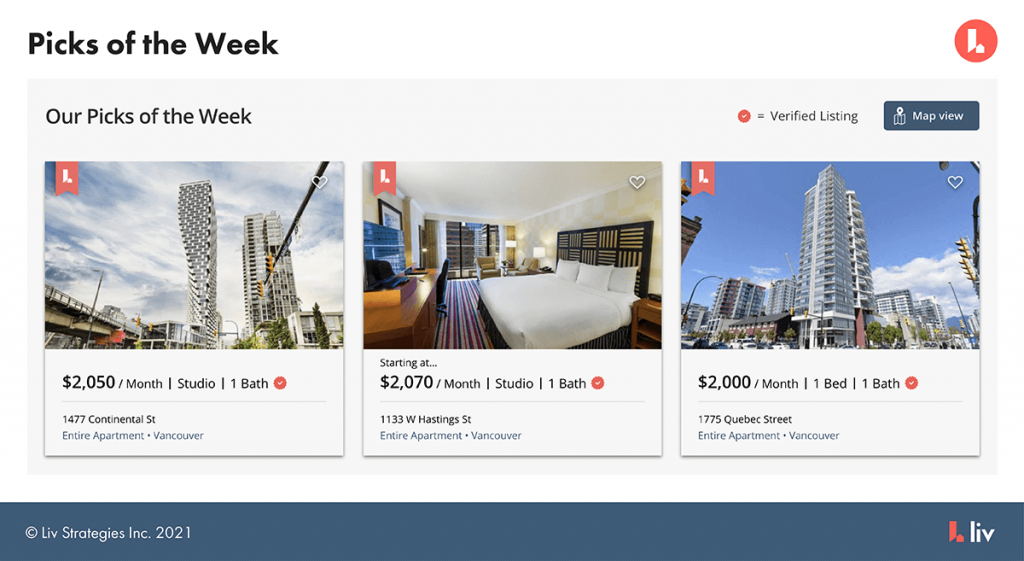 pick of the week option - liv.rent's featured listings ads