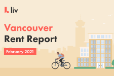 The average cost of rent in Vancouver for February 2021.