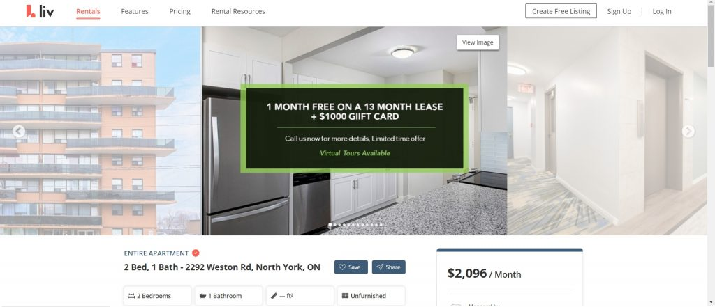Two bedroom apartment with free rent in Toronto.