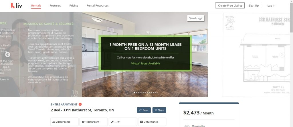 Toronto has free rent for two-bedroom apartments.