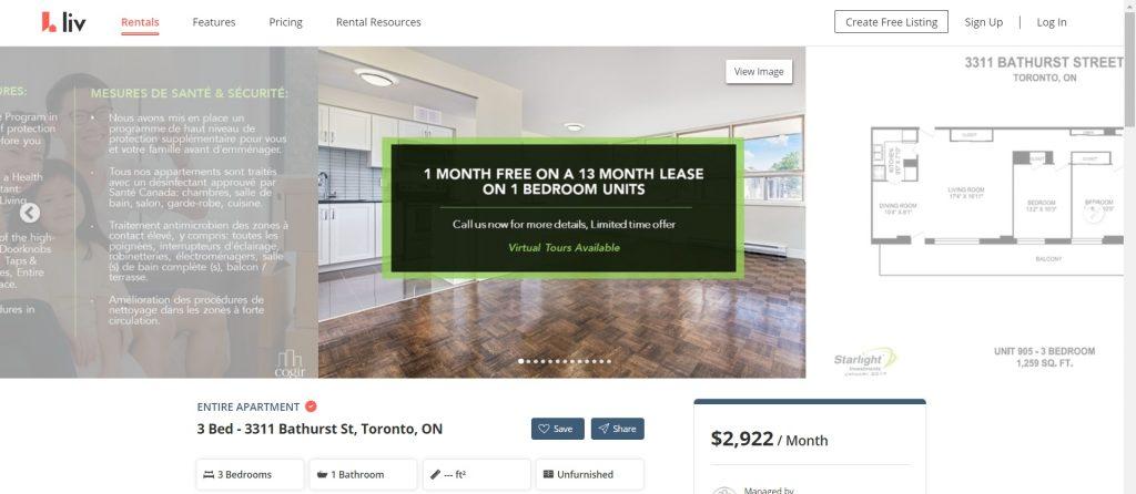 Toronto rent free at this apartment.
