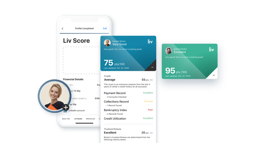 The Liv Score™ shows a tenant's credibility and reliability as a renter.